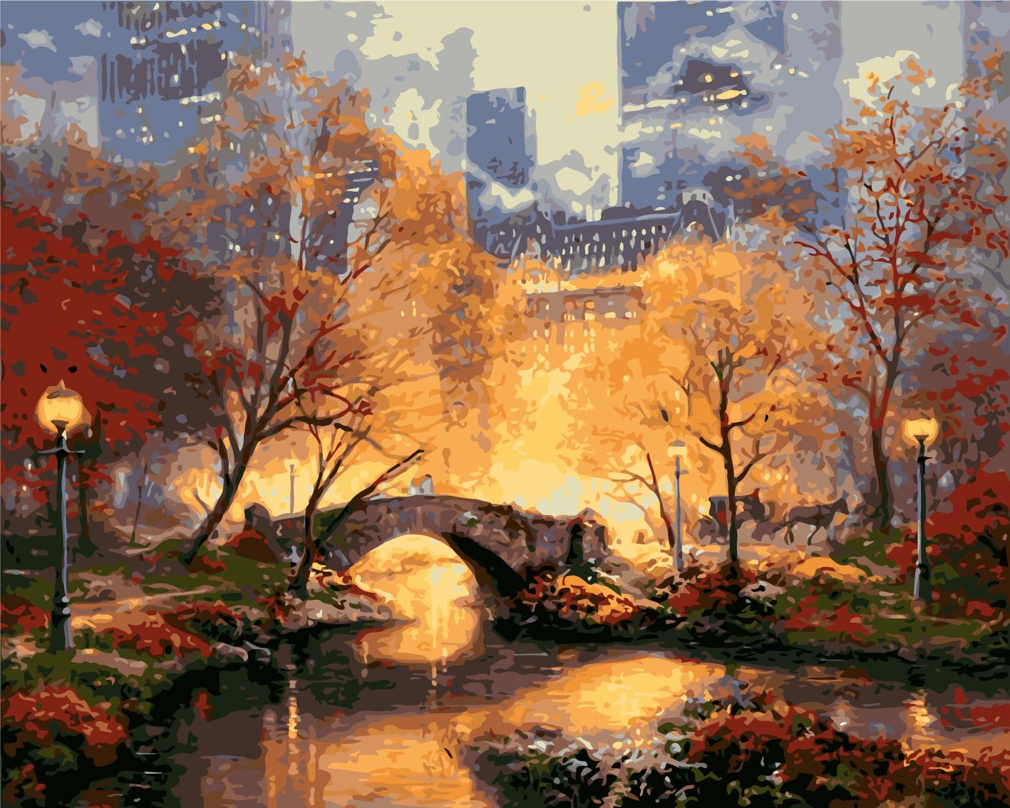 צביעה לפי מספרים - סנטרל פארק בסתיו