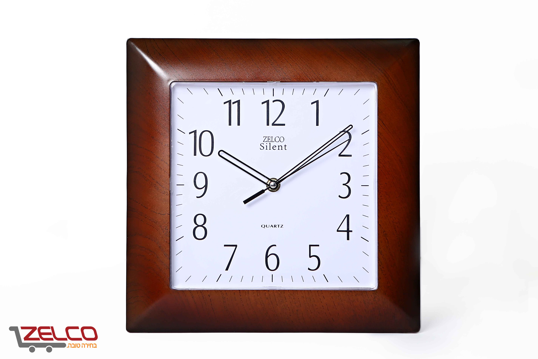שעון קיר מרובע דמוי עץ צבע דובדבן