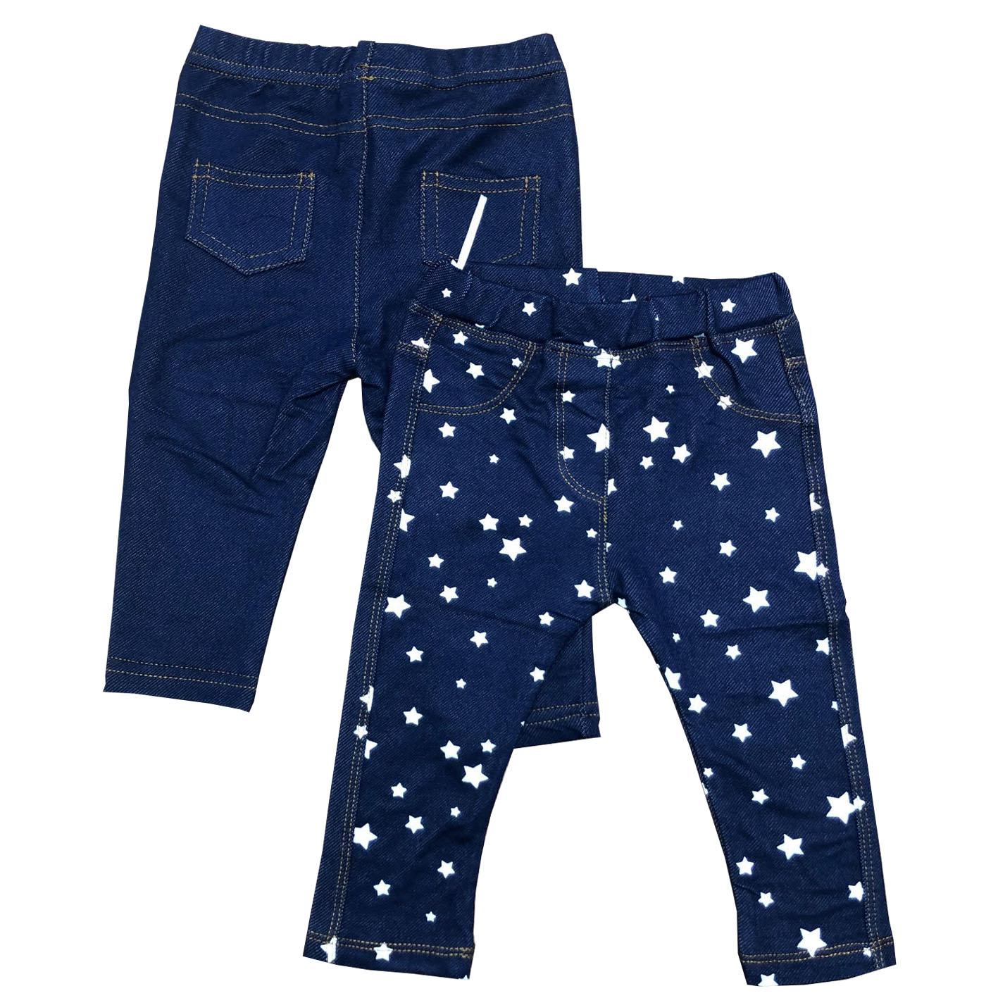 זוג טייצים דמוי ג'ינס כוכבים נייבי חלק וכוכבים