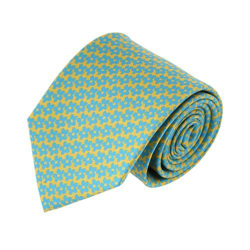 עניבה פרחים תכלת צהוב
