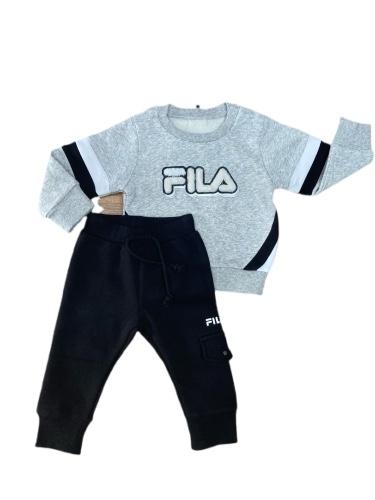FILA חליפת פוטר תינוקת אפור פרווה