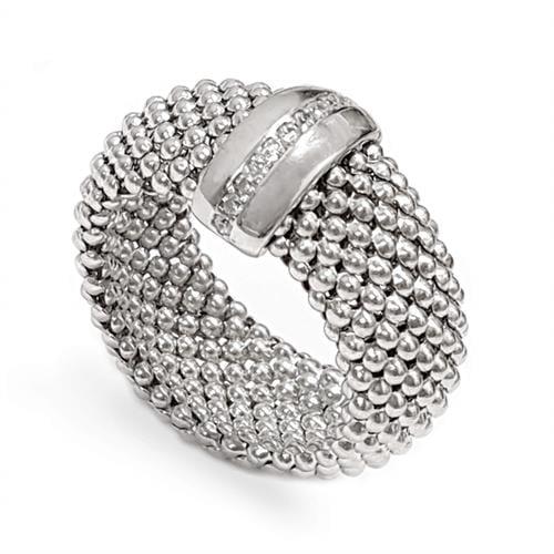 טבעת כסף רחבה גמישה משובצת אבני זרקון  RG5970