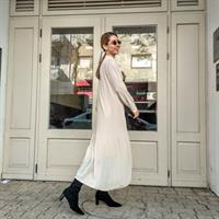 שמלת פליסה BOW - אבן