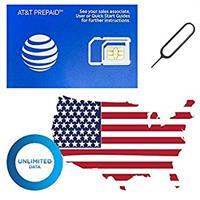 כרטיס סים  30 ג'יגה  רשת   at&t אורגינל משולב קנדה ומקסיקו