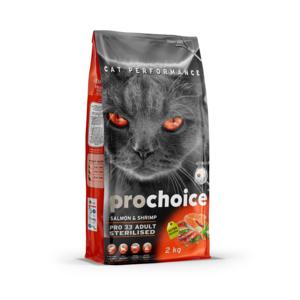 """פרוצ'וייס מזון יבש לחתולים מסורסים- סלמון ושרימפס 2 ק""""ג Prochoice"""