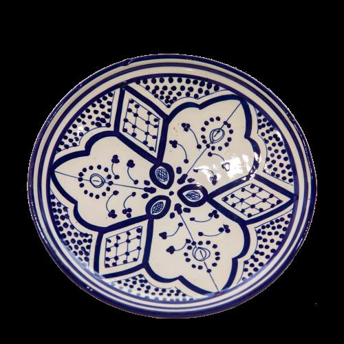 צלחת שטוחה כחול לבן פרחים M