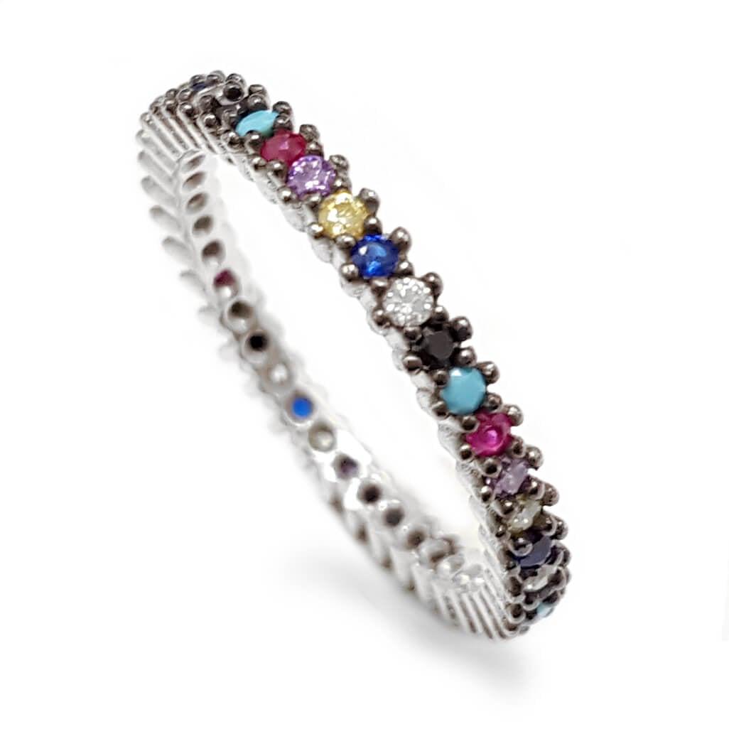 טבעת כסף משובצת אבני זרקון צבעונית RG5663 | תכשיטי כסף | טבעות כסף
