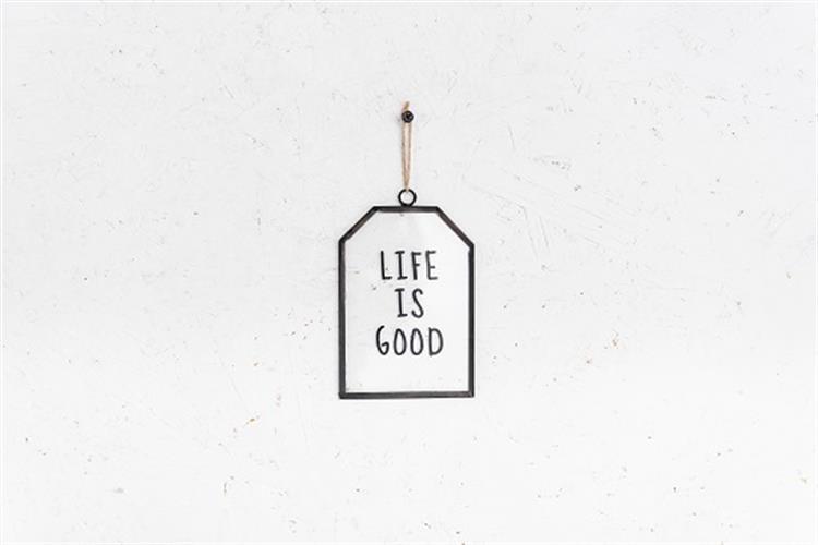שלט זכוכית בינוני - LIFE (שחור)