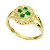 טבעת זהב 14K משובצת אבן אמרלד ויהלומים 0.65 קראט