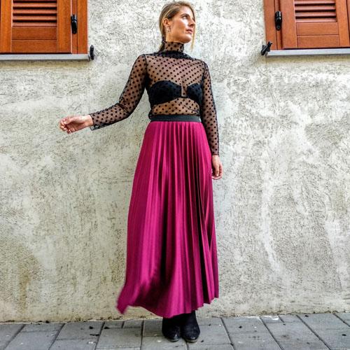 חצאית פליסה בורדו יין