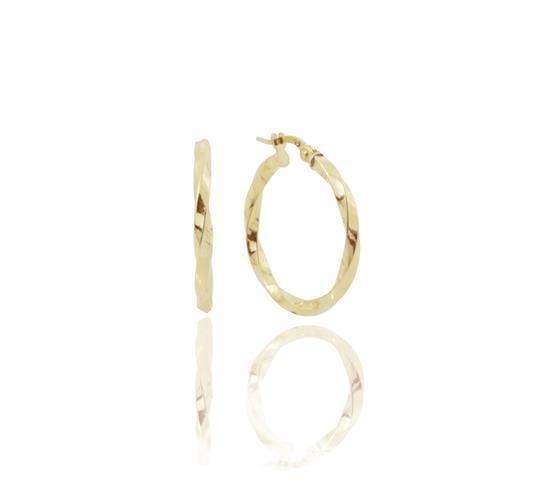 עגילי חישוק מסובב זהב 14 קראט