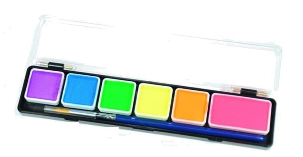 פלטה 6 צבעי מים נאון (זוהרים) + מכחול (24 גר')
