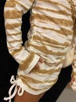 שמלת כיווצים זברה חום לבן