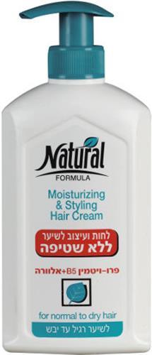נטורל פורמולה לחות ועיצוב לשיער ללא שטיפה לשיער רגיל עד יבש 400 מל
