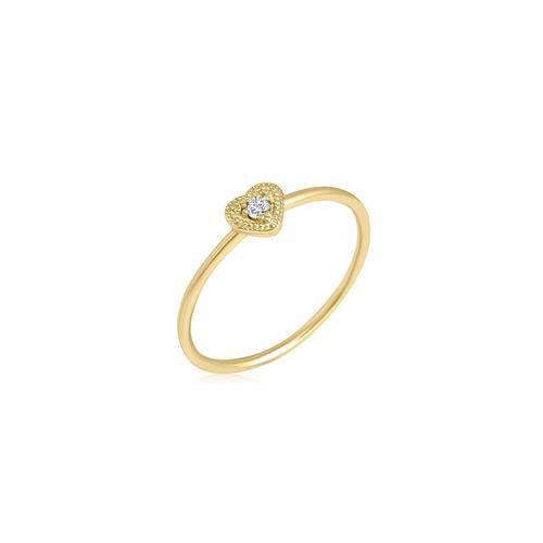 טבעת לב יהלום זהב 0.03 קראט