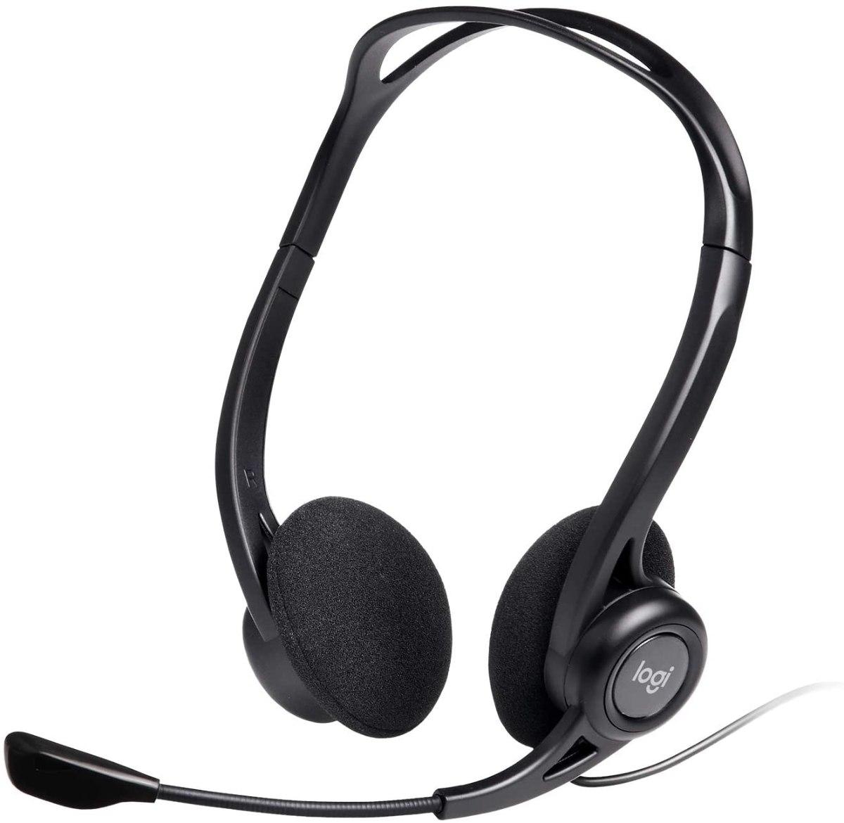 אוזניות חוטיות + מיקרופון מובנה -  Logitech PC960 לוגיטק