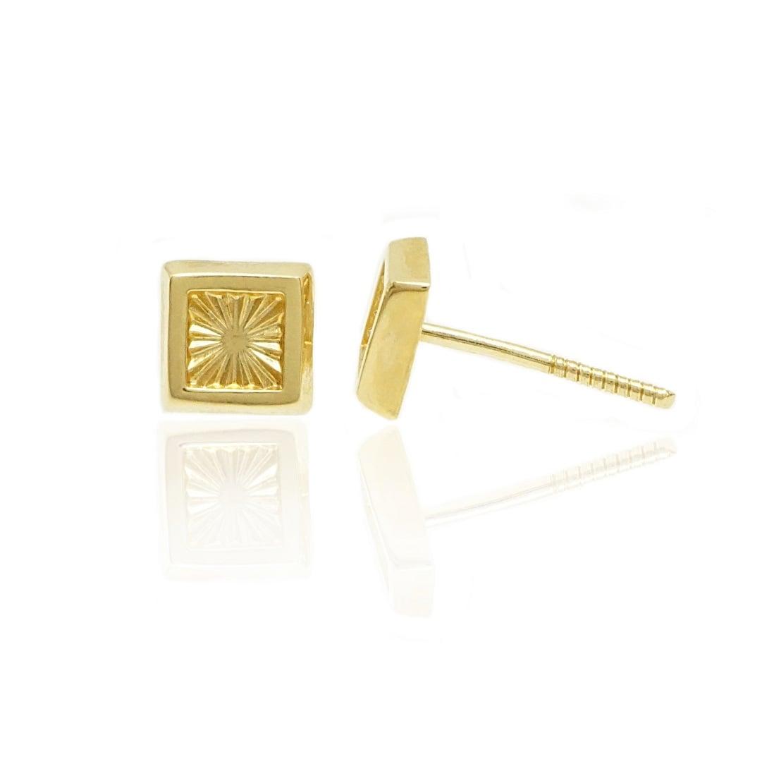 עגילי זהב מרובעים עדינים