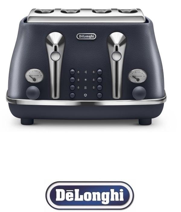 DeLonghi מצנם רטרו 4 פרוסות ICONA דגם CTOE4003.BL כחול כהה