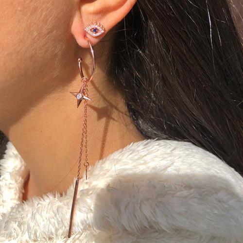 זוג עגילי גיפסי כוכבים א-סימטריים - רוס גולד/כסף 925