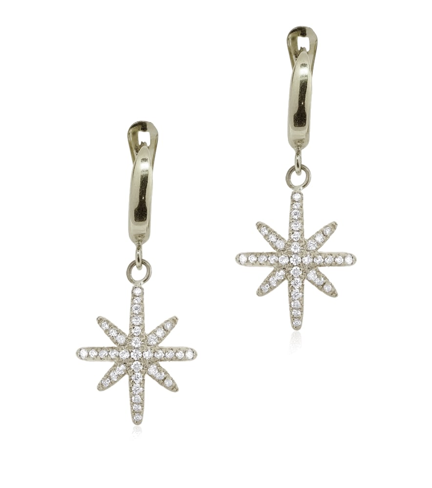 עגילי יהלומים בסגנון שושנת הרוחות