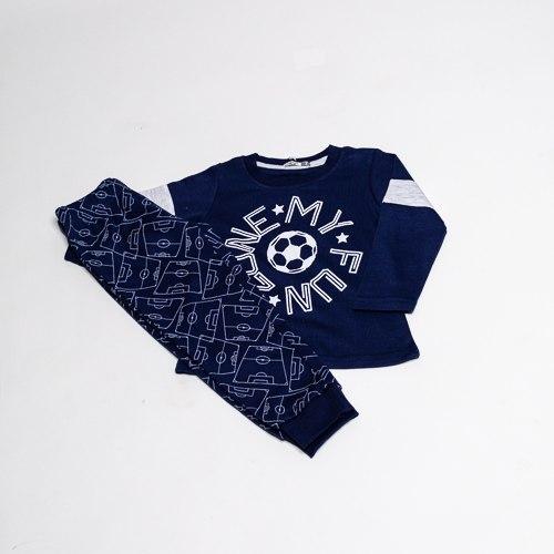 פיג'מת בנים אינטרלוק כדורגל כחולה