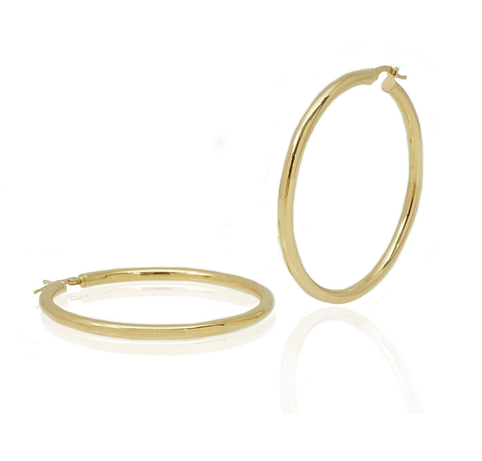 """עגילי חישוק זהב גדולים 4.7 ס""""מ"""