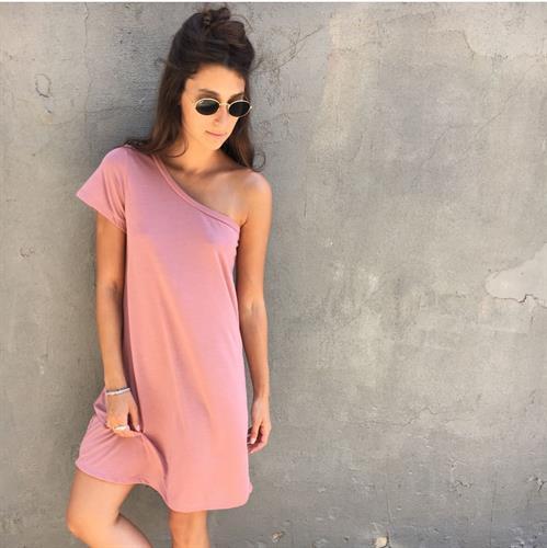 שמלת בייס כתף - ורודה