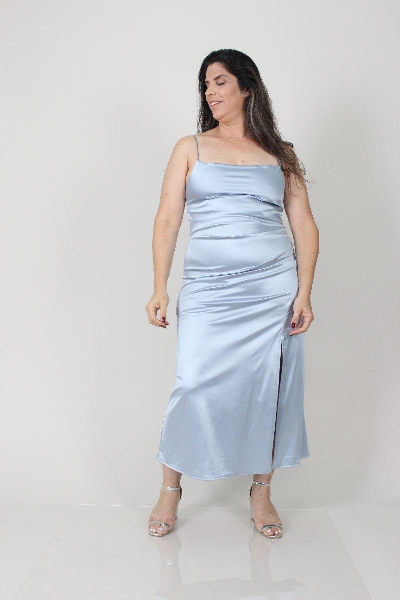 שמלת לייני תכלת סאטן