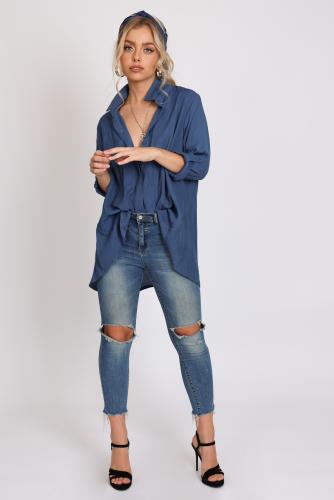 חולצת פאולינה כחול/לבן/תכלת פרחוני