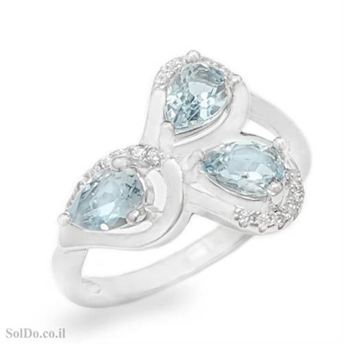 טבעת מכסף משובצת אבני טופז כחולה וזרקונים RG6135 | תכשיטי כסף 925 | טבעות כסף