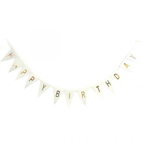 שרשרת דגלים  happy birthday הטבעת זהב לבן