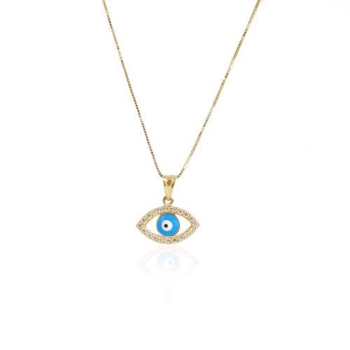 שרשרת עין זהב זרקונים
