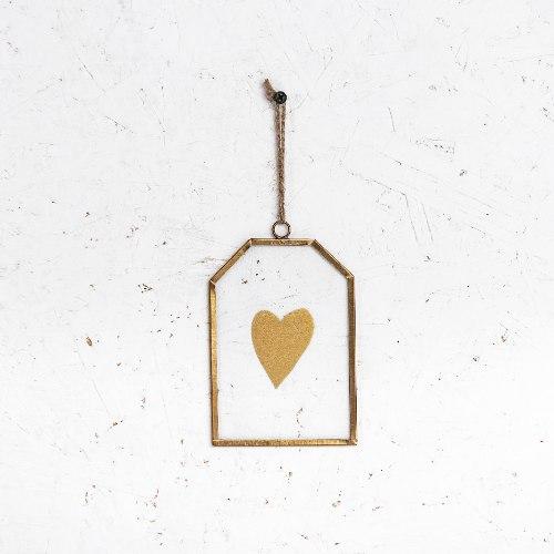 שלט זכוכית קטן - לב (זהב)
