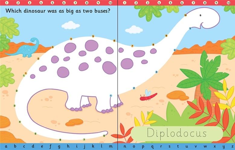 חוברת צבע ומחק - קו נקודה דינוזאורים