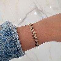 צמיד זהב חוליות רחב לאישה בסגנון S