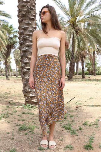 חצאית מעטפת פרח חרדל