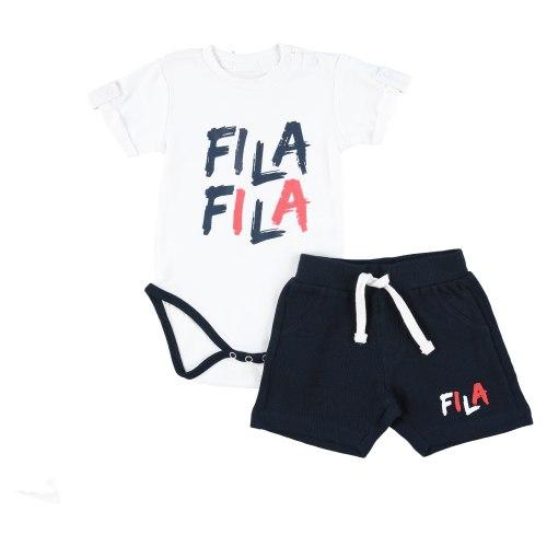 חליפת בייבי כחול/לבן לוגו גרפיטי FILA בנים - 6-18 חודשים