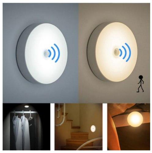 מנורת לד עגולה בעלת חיישן תנועה
