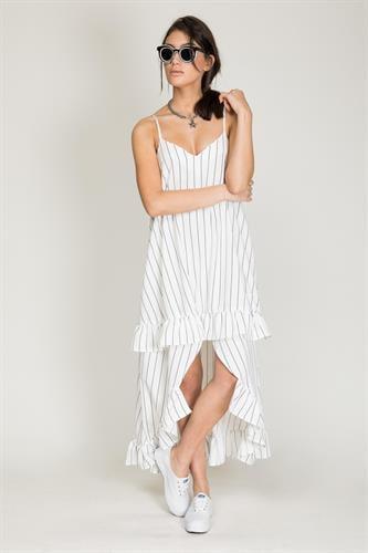 שמלת מנדרין לבן פסים