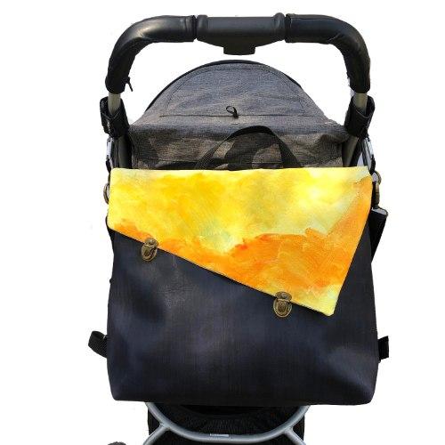 תיק עגלה, לאם ולילד, תיק החתלה כחול טקסטורה וצהוב