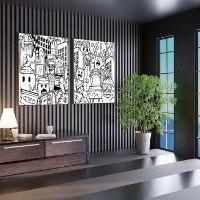 סט ציורי פופ ארט שחור לבן למשרד של האמן כפיר תג'ר