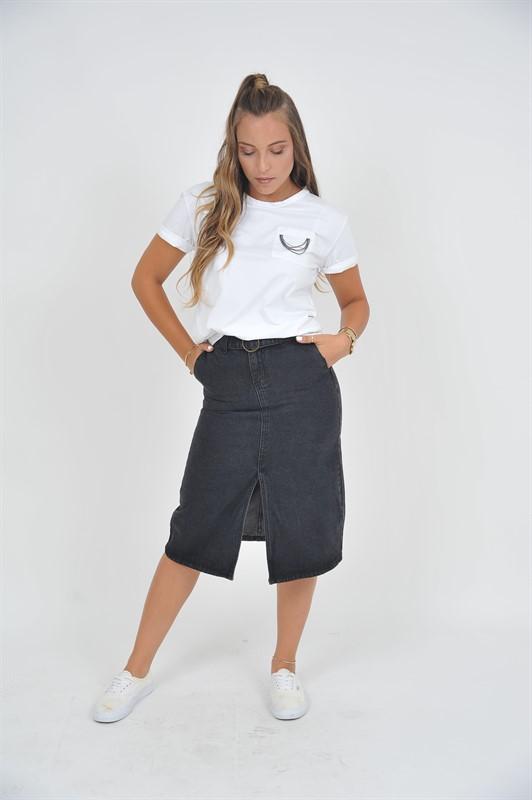 טוטאלוק מושלם חצאית גינס וחולצה {סט שלם}