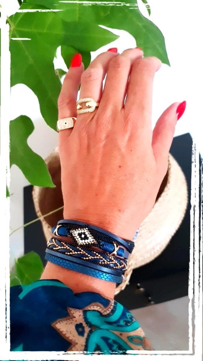 צמיד עבה רצועות עור כחול