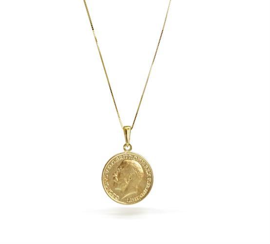 שרשרת זהב מטבע │ תליון ושרשרת מטבע מזהב אמיתי