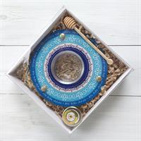 ShanaBekef כלי לדבש ותפוחים כחול Dvash_17