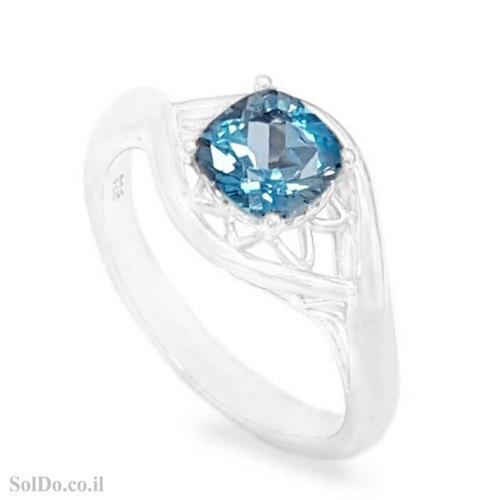 טבעת מכסף משובצת אבן טופז כחולה RG1736   תכשיטי כסף 925   טבעות כסף