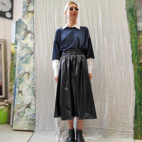 חצאית נילון יפני - BLACK