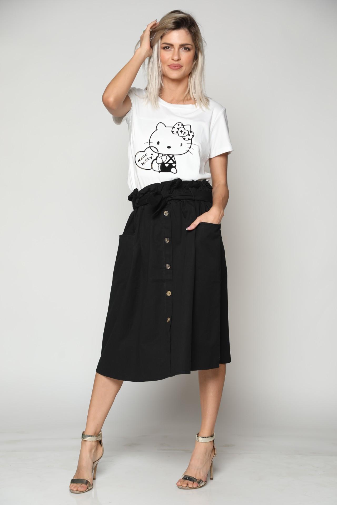 חצאית נשים שילוב כפתורים שחור