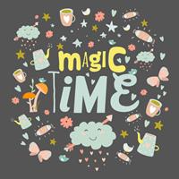מדבקת קיר MAGIC TIME |משפטי השראה | מדבקות קיר משפטים | מדבקות | מדבקות קיר מעוצבות
