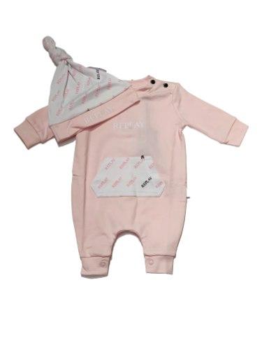 אוברול תינוקות REPLAY ורוד עם כובע 0-18